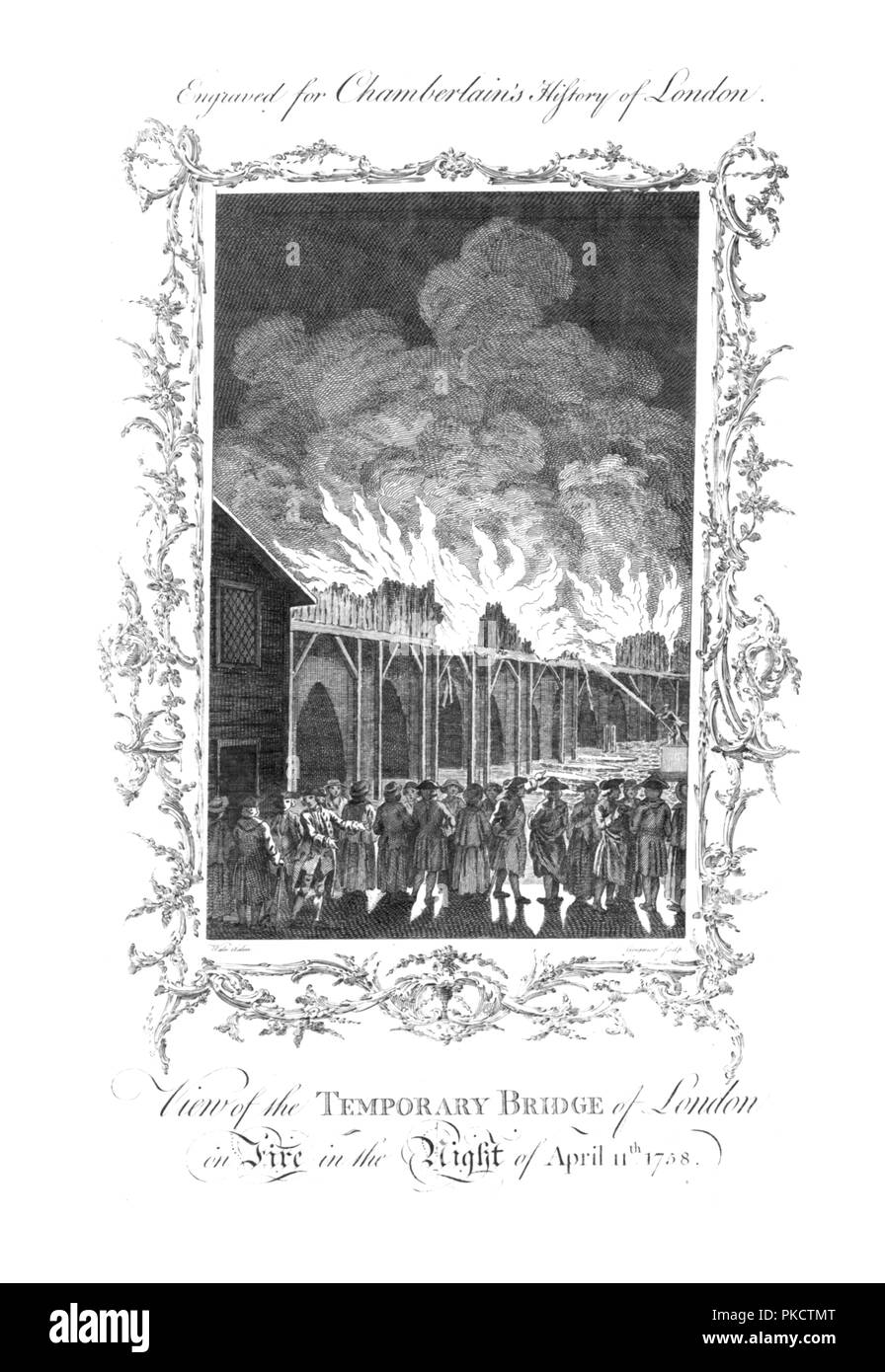 View Of The Temporary Bridge Of London On Fire In The Night Of April