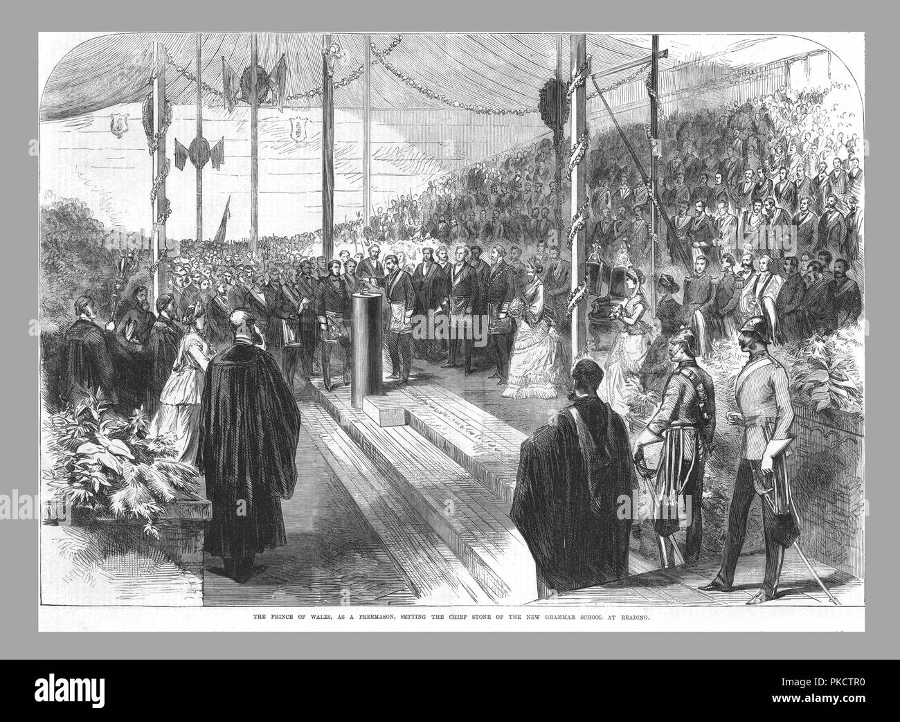 'The Prince of Wales, as a Freemason, Setting the Chief Stone at the New Grammar School at Reading.', 1870. The Prince of Wales (the future King Edward VII, 1841-1910) laying the foundation stone at Reading School in Berkshire. From the Illustrated London News, 8 July 1870. - Stock Image