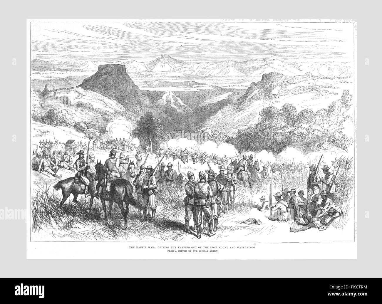 'The Kaffir War - Driving the Kaffirs out of the Iron Mount and Waterkloof', 1878. The British imperialists forcing indigenous people off their land in what is now South Africa. 'Kaffir' is a derogatory term for black Africans. From the Illustrated London News, 11 May 1878. - Stock Image