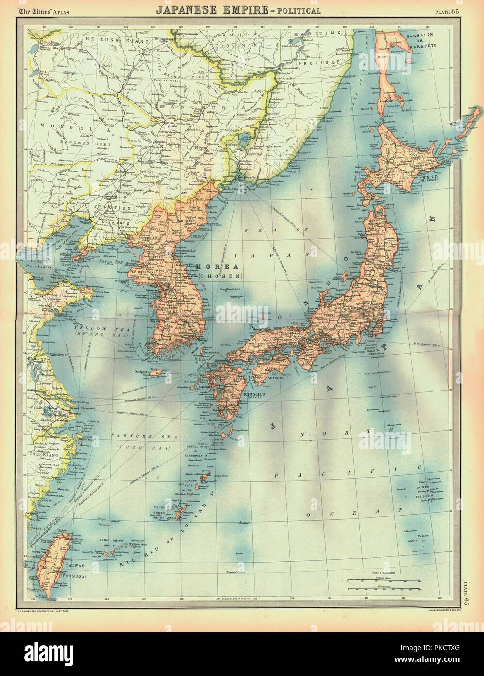 Political Map Of The Japanese Empire Early 20th Century Korea Was