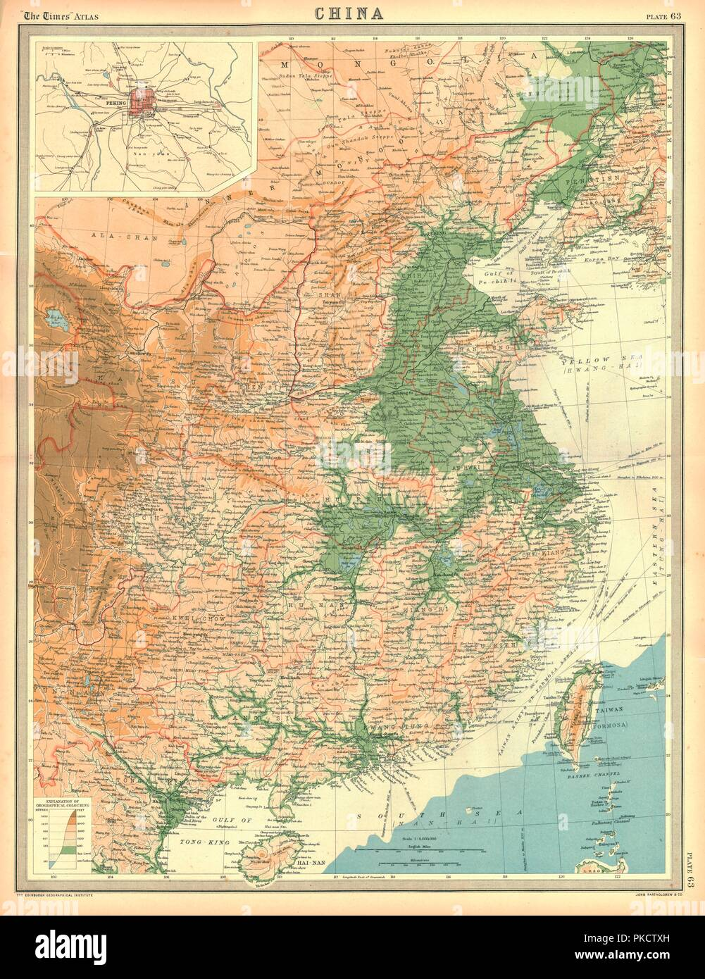 Geographical map of China. Plate 63 from The Times Atlas. - Stock Image