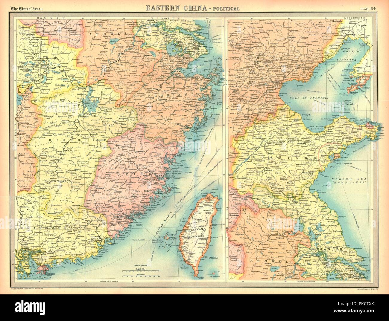 Political map of Eastern China, showing Taiwan, Tianjin and the Bohai Sea. Plate 64 from The Times Atlas. - Stock Image