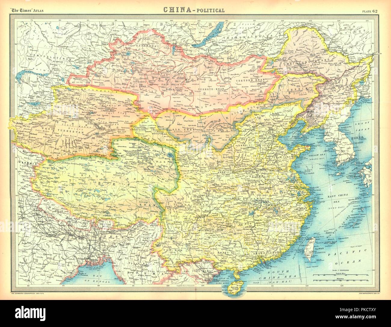 Political map of China. Map showing China, Mongolia, East Turkestan, Tibet and the Korean peninsula. Plate 62 from The Times Atlas. - Stock Image