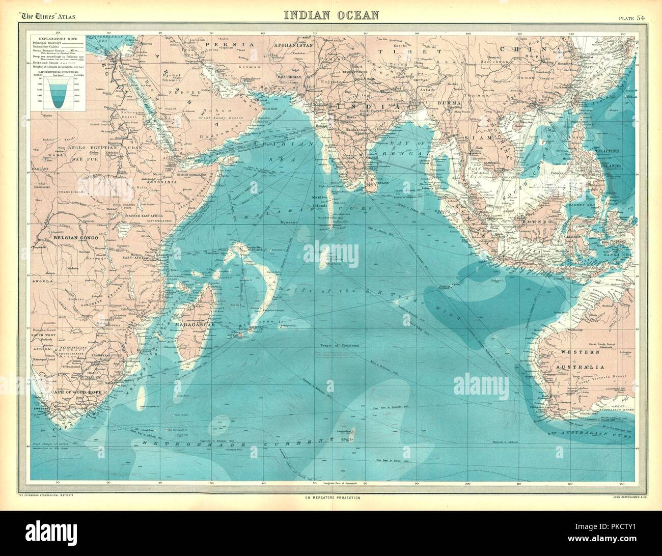 Map of the Indian Ocean. Map showing the Indian subcontinent, East ...