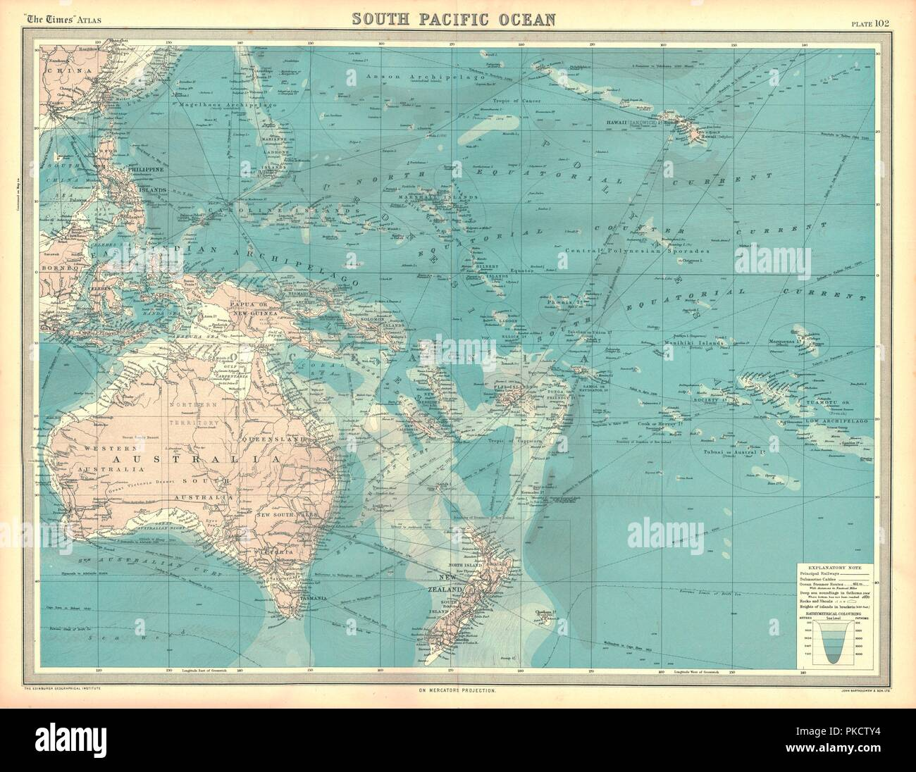 South pacific ocean map stock photos south pacific ocean map stock map of the south pacific ocean map showing the philippines indonesia papua new gumiabroncs Choice Image
