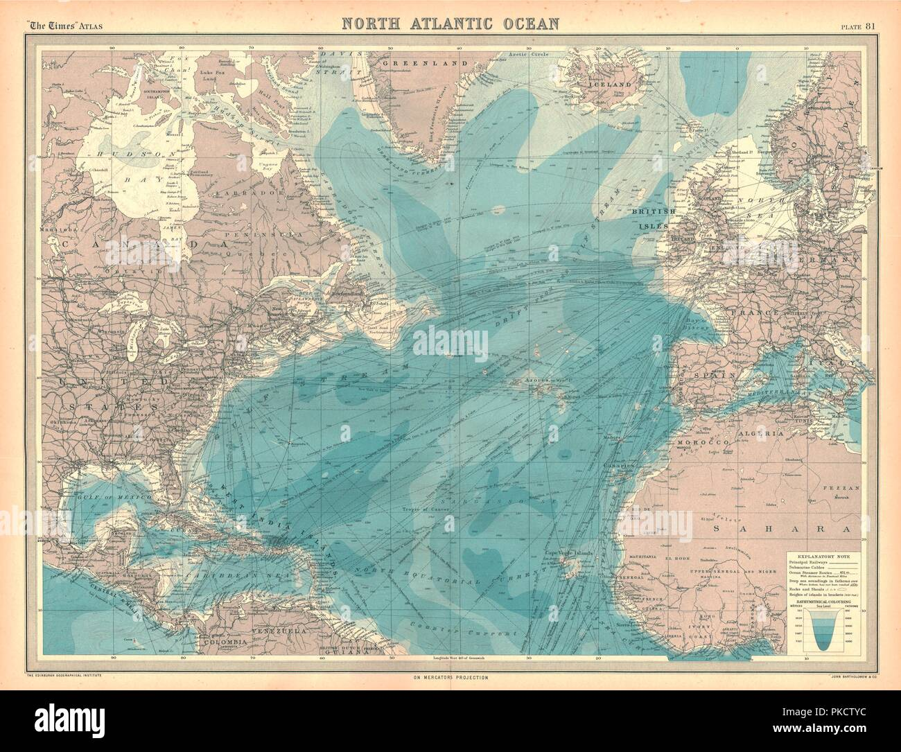 North Atlantic Ocean Map Stock Photos & North Atlantic Ocean Map ...