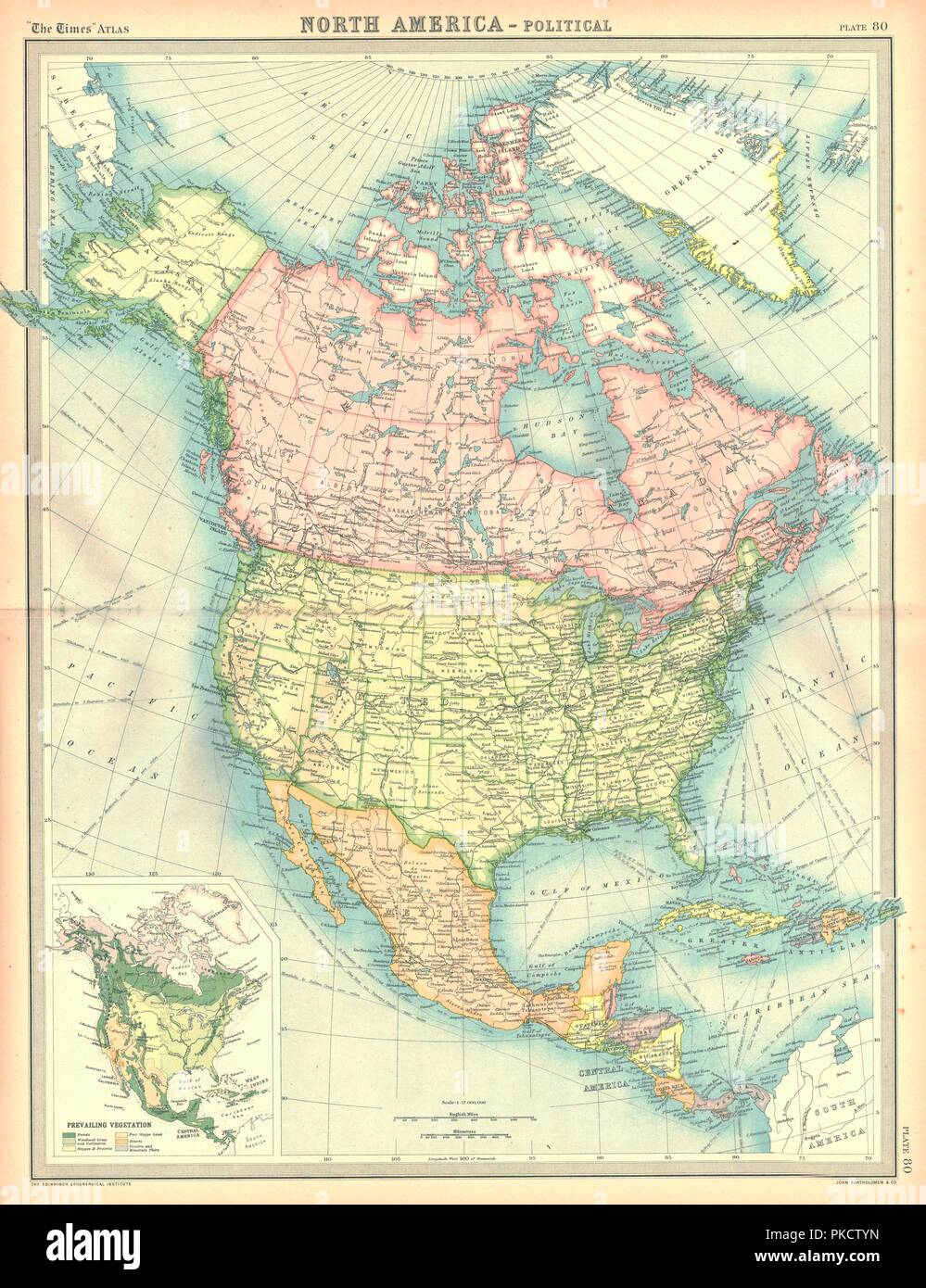 Political map of North America. Artist: Unknown Stock Photo ...
