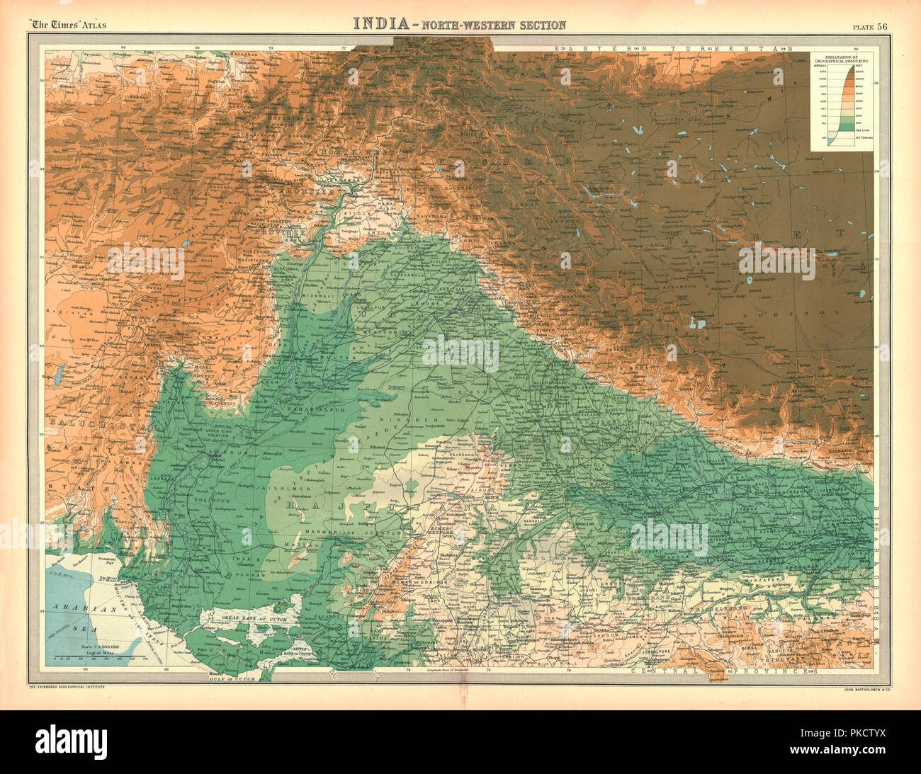 Map of India - North Western Section. Map showing Afghanistan and ...