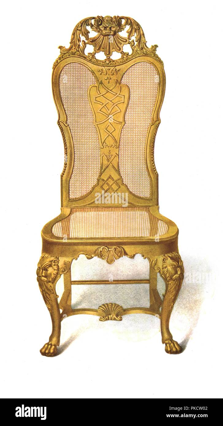 Gilt Cane Chair, 1906. Print From A History Of English Furniture, The Age