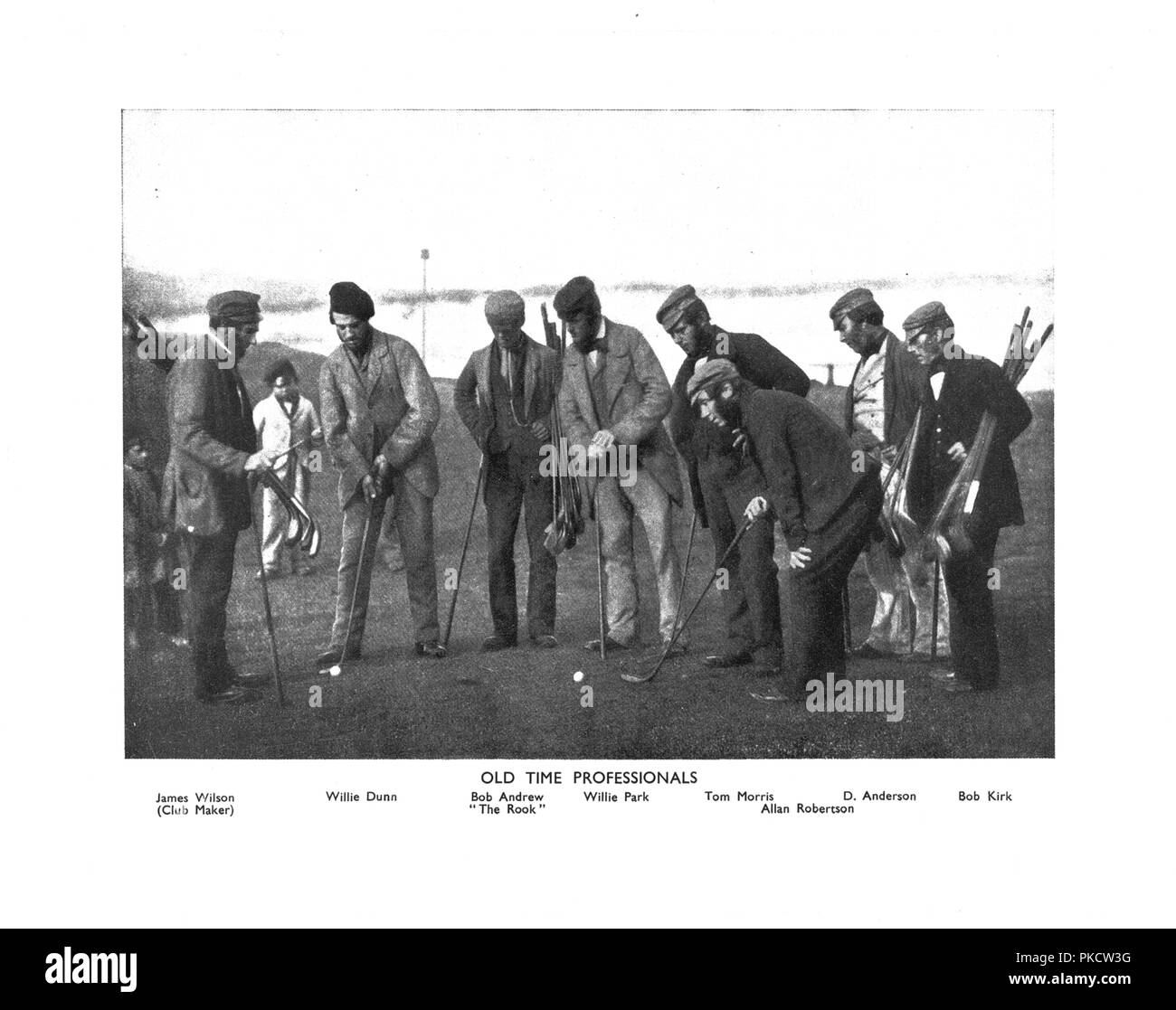 'Old Time Professionals', c1850s. Lithographic reproduction of a photograph taken c1850, showing Scottish golfers James Wilson (Club Maker), Willie Dunn, Bob Andrew The Rook, Willie Park, Tom Morris, Allan Robertson, D Anderson and Bob Kirk. - Stock Image