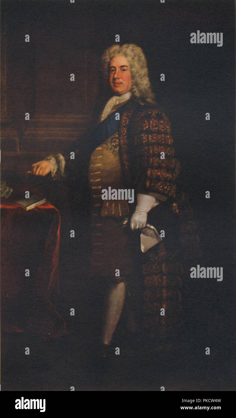 Sir Robert Walpole, c1740s, (1941). Although the title was never used to refer to him at the time, Walpole (1676-1745) is regarded as Britain's first Prime Minister. His administration lasted from 1721 until he resigned in 1742, longer than that of any Prime Minister since. From British Statesmen, by Enest Barker. [Collins, London, 1941] - Stock Image