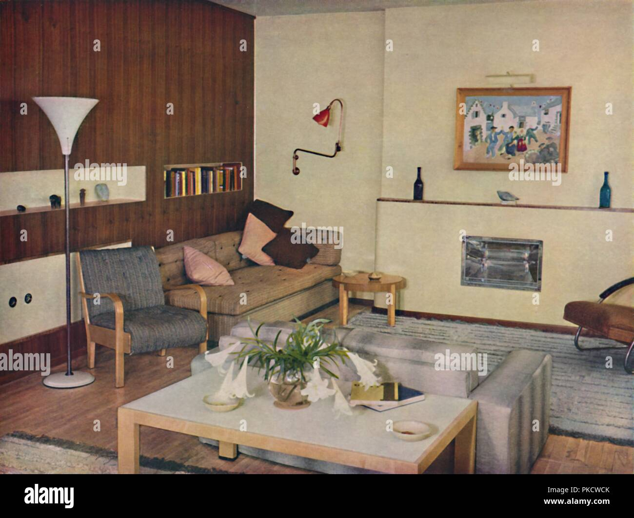'The living-room in a London flat, redesigned by Serge Chermayeff, F.R.I.B.A.', 1936. Artist: Unknown. - Stock Image