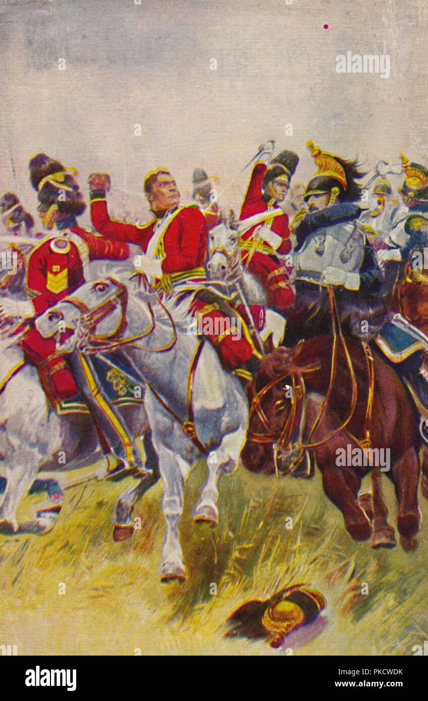 'The Royal Scots Greys. The Charge of the Greys at Waterloo', 1815, (1939).  Artist: Unknown. - Stock Image