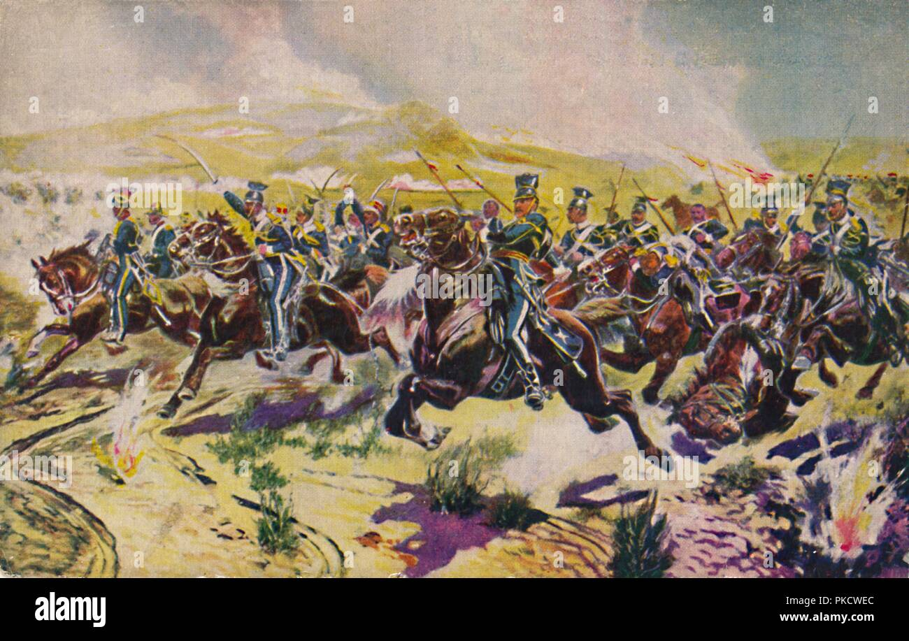 'The 17th Lancers. The Charge of the Light Brigade at Balaclava', 1854, (1939). Battle at Balaklava, Crimean War, Russia, 25 October 1854, with lines of the cavalry advancing straight into a line of cannon fire. Lord Raglan gave the order for the disastrous British cavalry charge, immortalised in Tennyson's poem, in which the Light Brigade suffered 40% casualties. From Battles for the Flag, a set of cards given away with British boys' comic The Wizard. [D. C. Thomson & Co., Dundee, 1939] - Stock Image