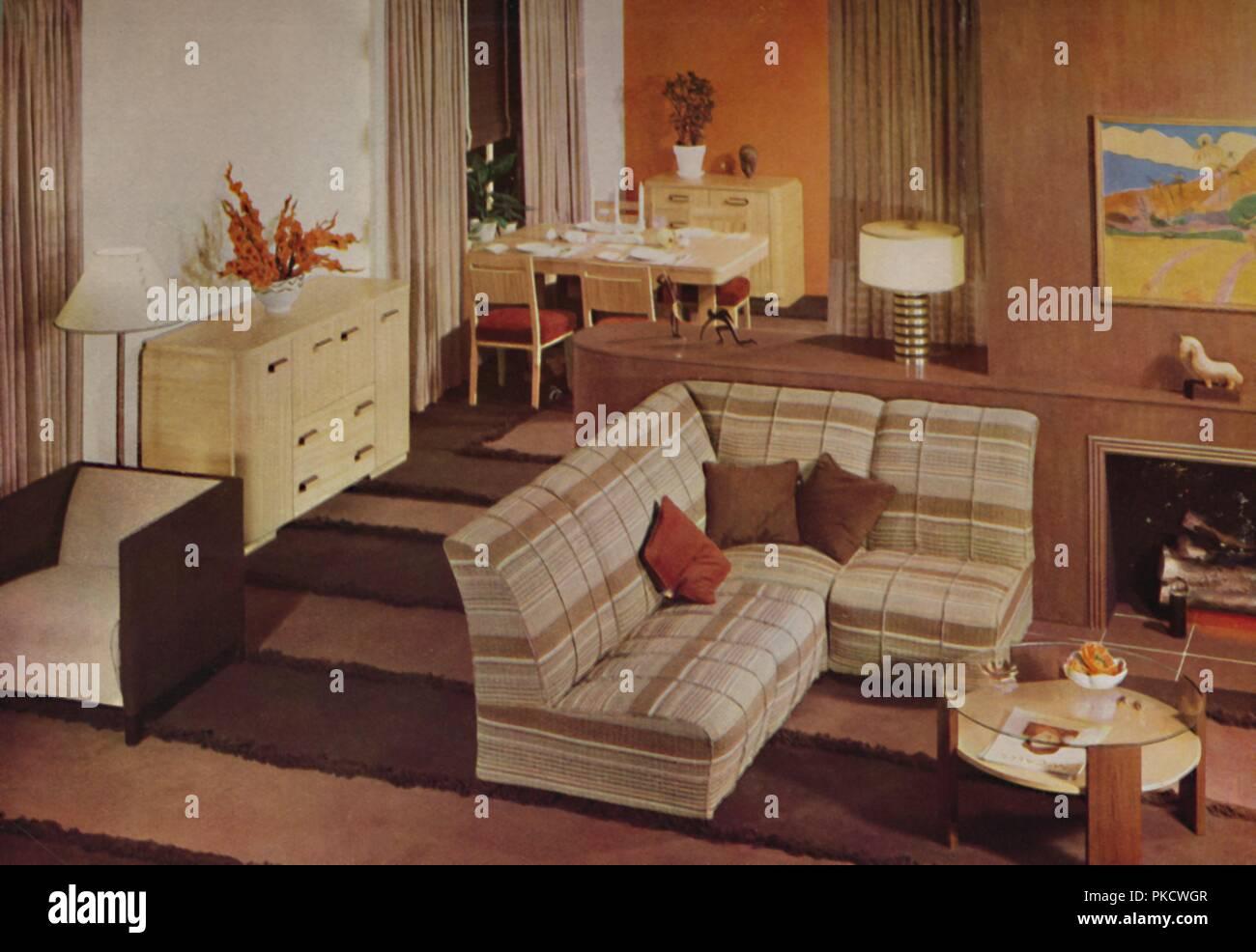 Combination Dining-Living Room in New York\', 1938. Artist ...