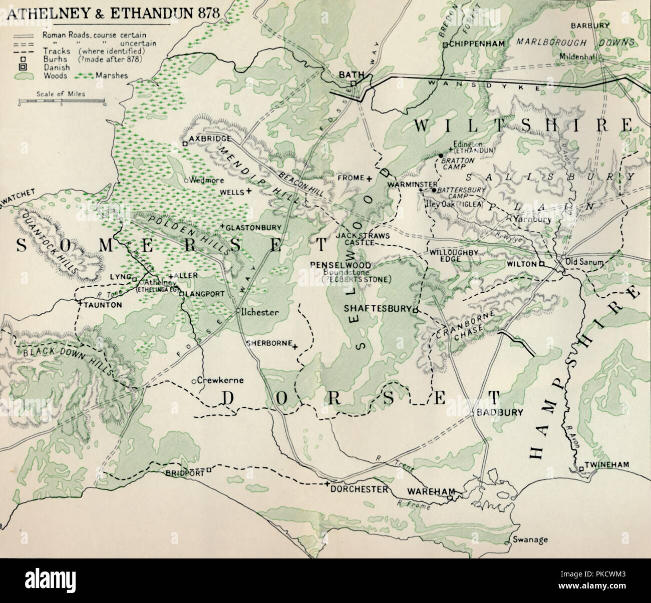 'Athelney & Ethandun 878', (1935). Map of part of the west of England (modern Somerset, Dorset, Wiltshire and Hampshire), showing Athelney, which was once the fortress hiding place of King Alfred the Great. From there he went on to defeat the Danes at the Battle of Edington (or Ethandun) in May 878. The map also shows Roman roads and tracks, Alfred's 'Burhs' (Old English fortifications), Danish forts, and significant sites during the period of Viking invasion. From A History of the Anglo-Saxons, Vol. II, by R. H. Hodgkin. [The Clarendon Press, Oxford, 1935] - Stock Image