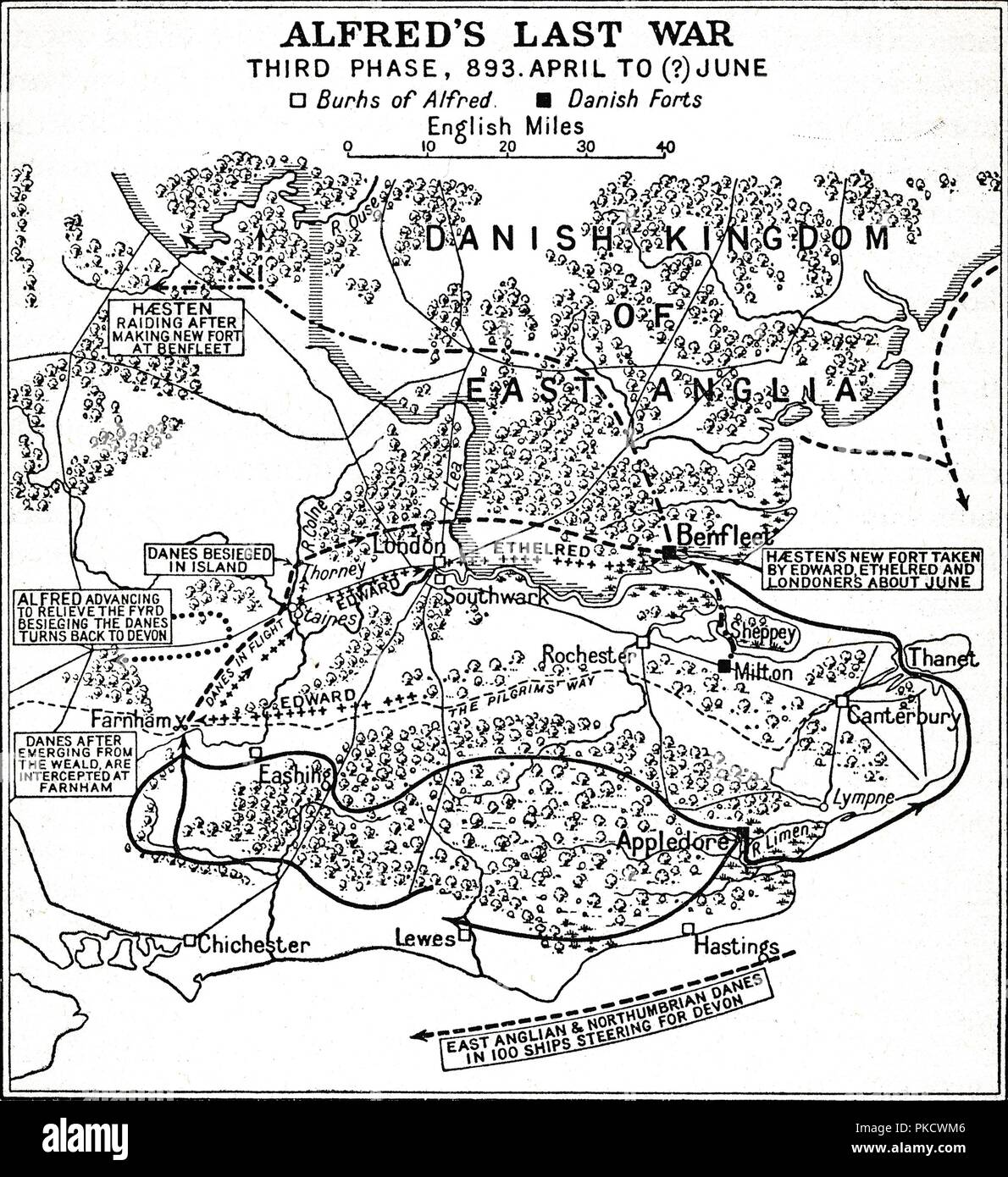 'Alfred's Last War - Third Phase, 893. April to (?) June', (1935). Map of the south-east of England, showing 'Burhs' (Old English fortifications) of the Anglo-Saxon King Alfred the Great, Danish forts, and significant sites during the period of Viking invasion. From A History of the Anglo-Saxons, Vol. II, by R. H. Hodgkin. [The Clarendon Press, Oxford, 1935] - Stock Image