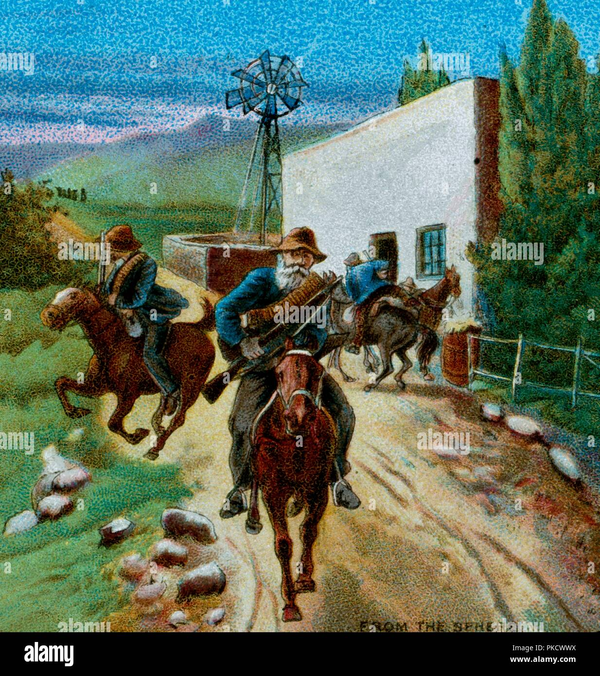 'Boers Retreating from a Farmhouse', 1900. Scene from the Second Anglo-Boer War (1899-1902) fought in what is now South Africa, between Great Britain and the independent Boer republics of the Orange Free State and the South African Republic (known as as the Transvaal by the British). From Coloured Lantern Slides. Junior Lecturers' Series. The Boer War of 1900: Chapter IV -- Cronje and Bloemfontein. [W. Butcher and Sons, London, 1900] - Stock Image