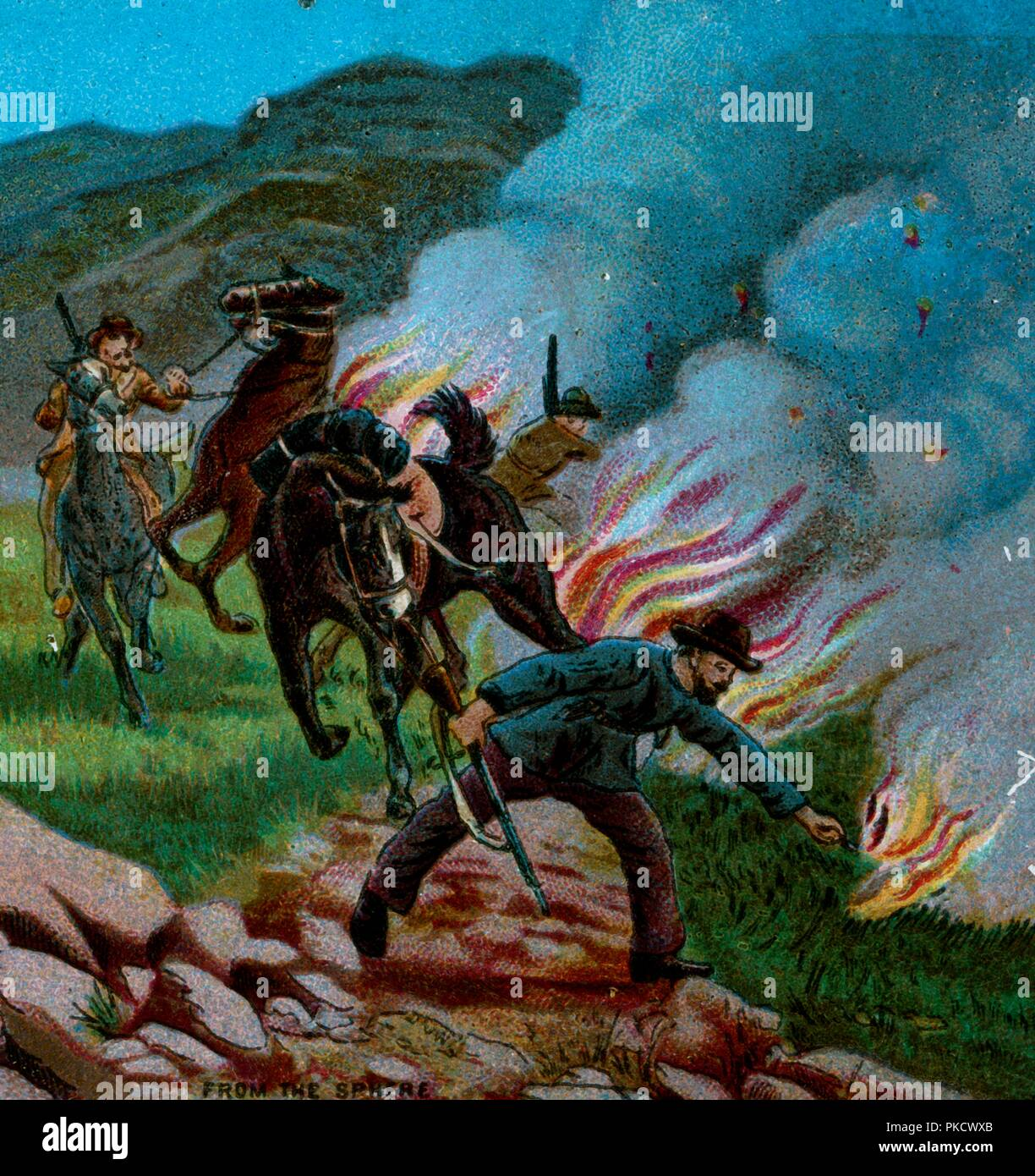 'Boers Firing the Veldt', 1900. Boer farmers setting fire to dry grass in the war against the British. Scene from the Second Anglo-Boer War (1899-1902) fought in what is now South Africa, between Great Britain and the independent Boer republics of the Orange Free State and the South African Republic (known as as the Transvaal by the British). From Coloured Lantern Slides. Junior Lecturers' Series. The Boer War of 1900: Chapter V -- Mafeking and Pretoria. [W. Butcher and Sons, London, 1900] - Stock Image