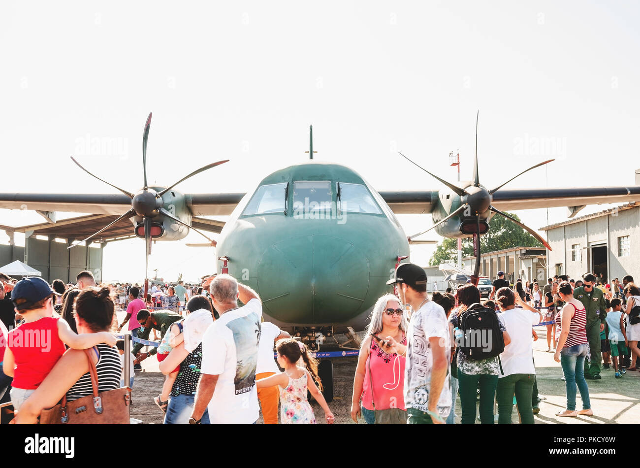 Campo Grande, Brazil - September 09, 2018: People at the military air base to visit the Portoes Abertos Ala 5. Event  open to the public. Airbus: 2806 - Stock Image