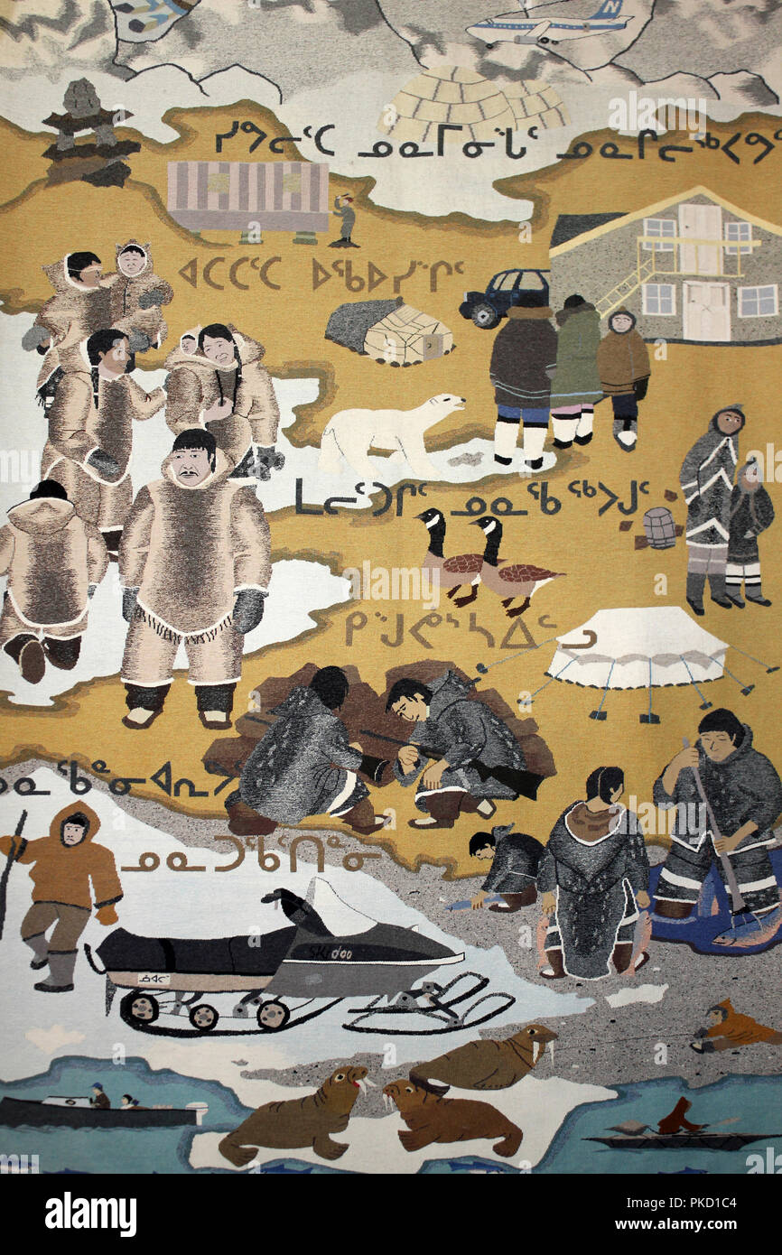 Tapestry Depicting Inuit Life - Stock Image