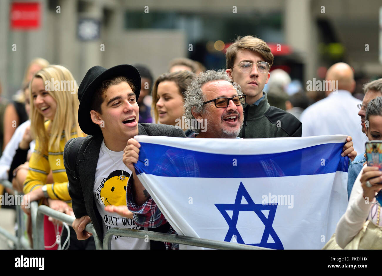 Harry Saul Markham and Gary Benjamin (Zionism supporters) protesting outside Labour Party HQ as the party discuss anti-Semitism inside. Sept 4th 2018 - Stock Image