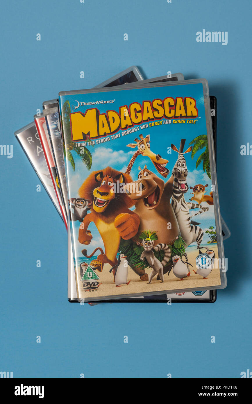dvd of the movie madagascar in a case with artwork stock photo