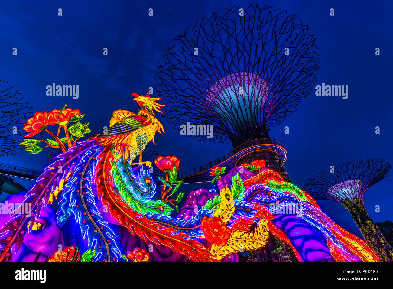 Experience the Mid-Autumn Festival in Gardens by the Bay, Singapore - Stock Image
