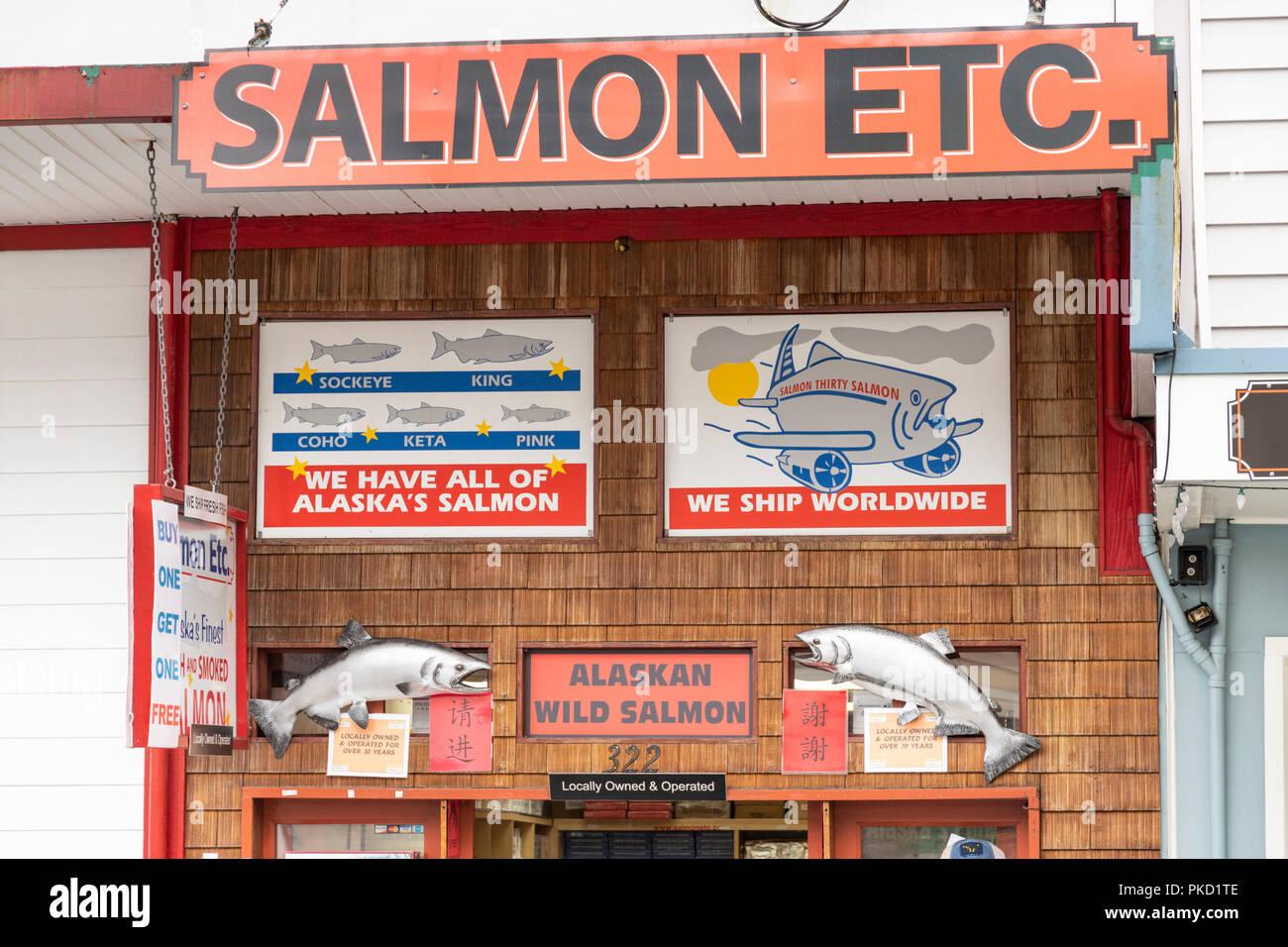 Salmon export business in Ketchikan, Alaska USA - Stock Image