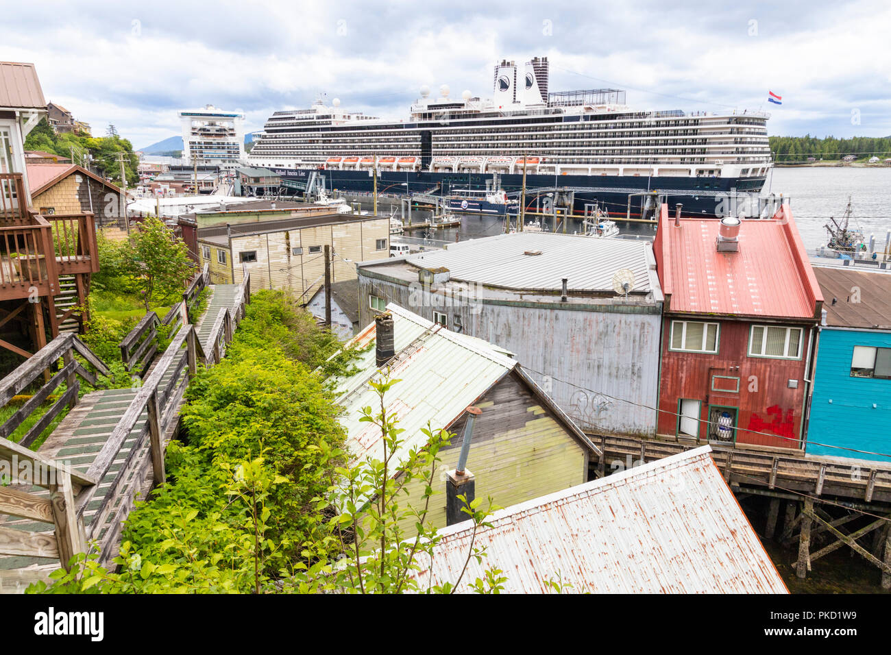 Looking down from the slopes above the harbour in Ketchikan, Alaska USA Stock Photo