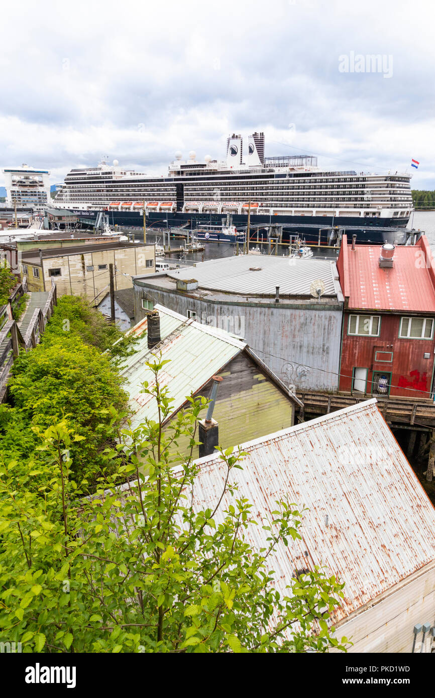 Looking down from the slopes above the harbour in Ketchikan, Alaska USA - Stock Image
