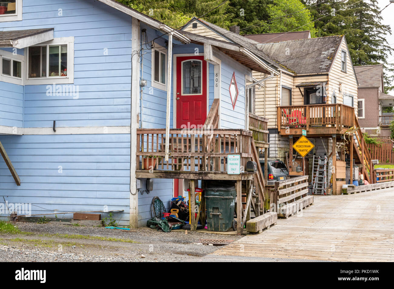 Colourful domestic properties on the slopes above the harbour in Ketchikan, Alaska USA - Stock Image