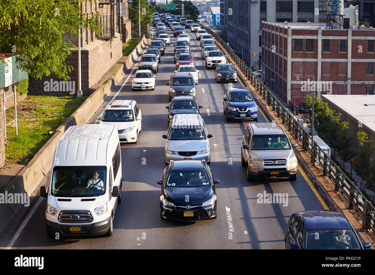 New York, USA - July 01, 2018: Traffic jam on the Brooklyn Queens Expressway (Interstate 278). - Stock Image