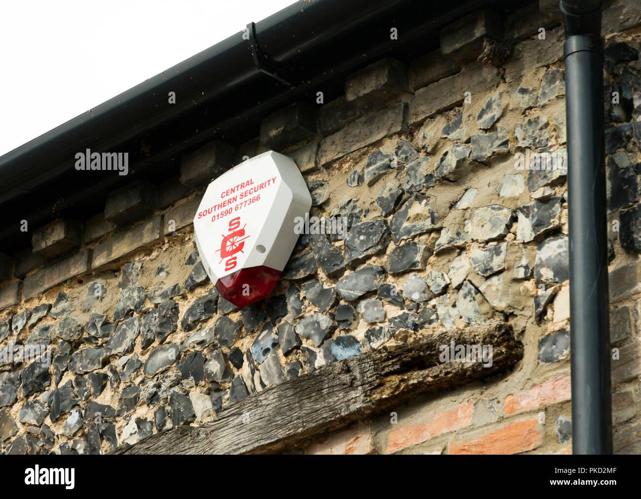 intruder alarm box on house Stock Photo