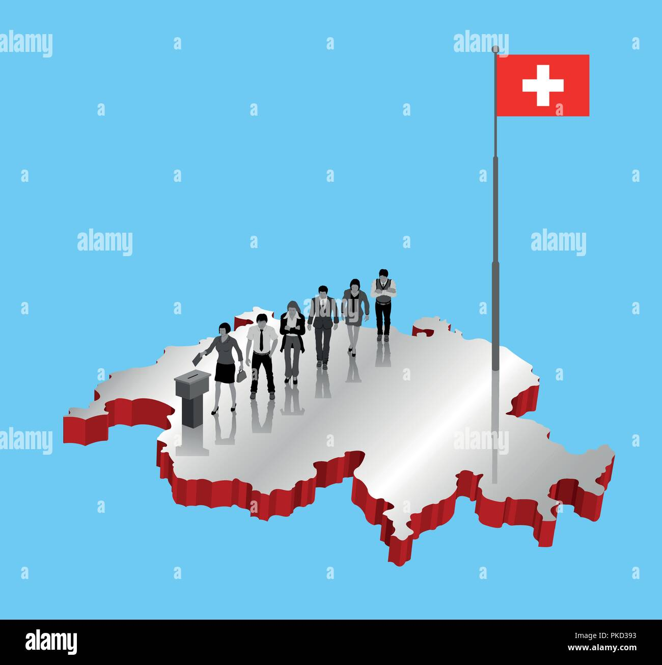 Swiss citizens voting for Switzerland referendum over an 3D map with Flagpole. All the objects, shadows and background are in different layers. - Stock Vector
