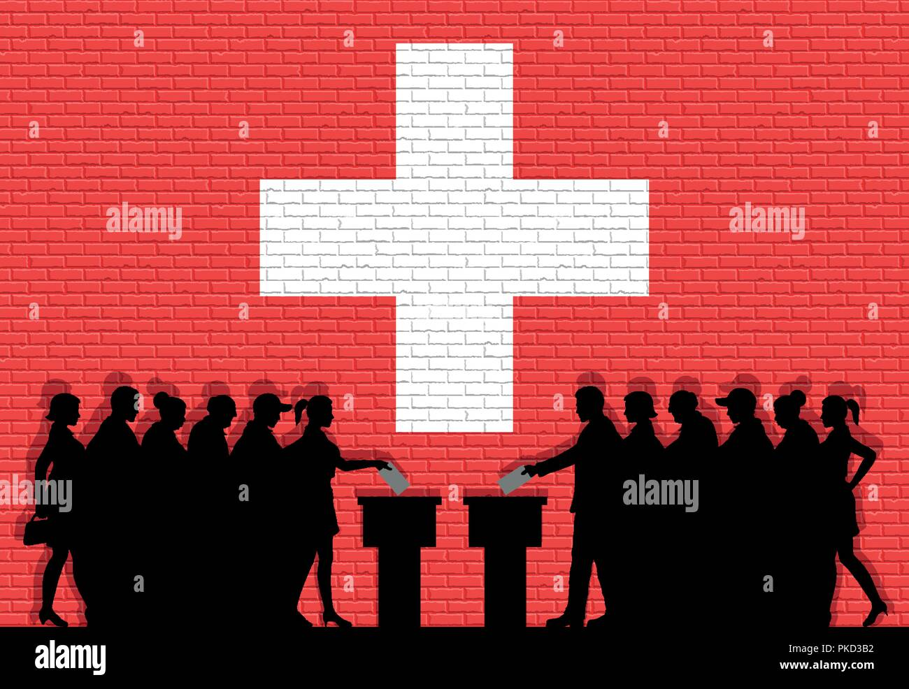 Swiss voters crowd silhouette in election with Switzerland flag graffiti in front of brick wall. All the silhouette objects, icons and background are  - Stock Vector