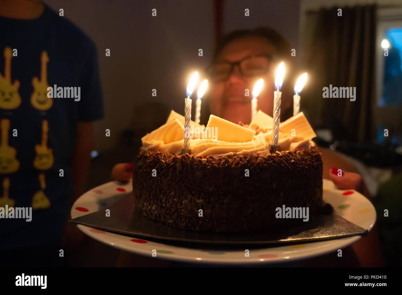 Peachy Chocolate Birthday Cake Candles Celebration Calories Stock Photos Personalised Birthday Cards Beptaeletsinfo