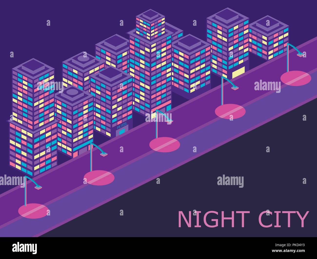 Urban landscape with isometric buildings lanterns and road. Violet color. Vector illustraion Stock Vector