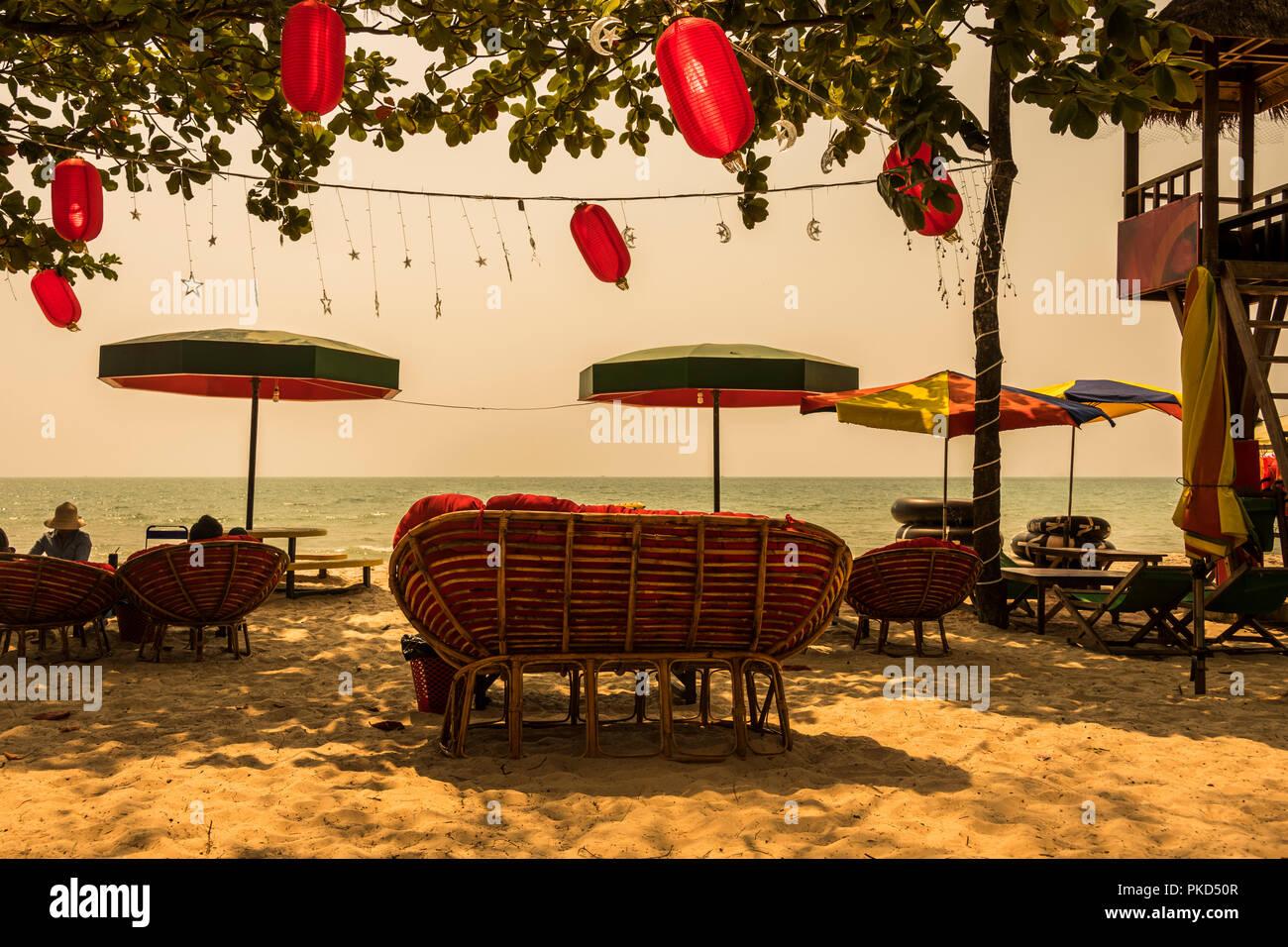 Sun day in ochheuteal beach near the city of Sihanoukville. Cambodia - Stock Image