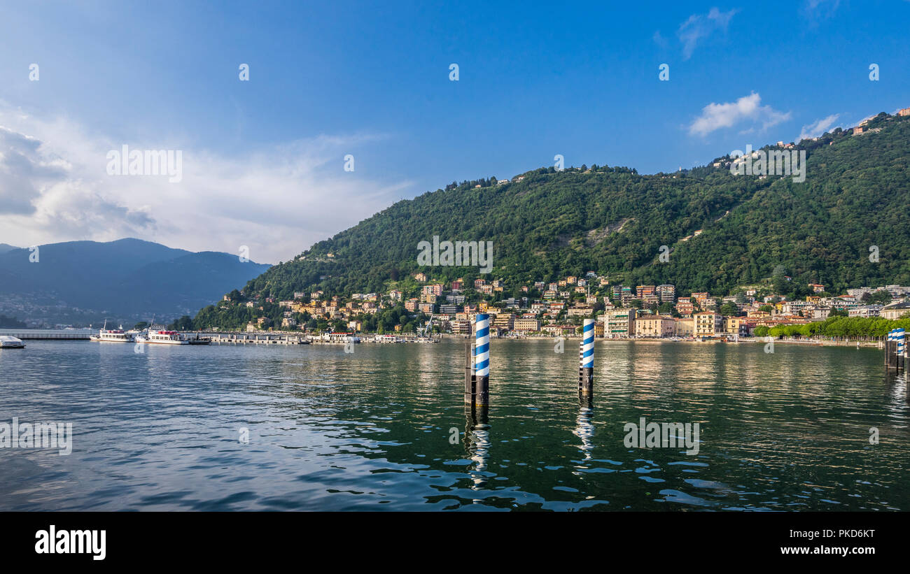 view of Lake Como from the Como lakefront, Lombardy, Italy - Stock Image