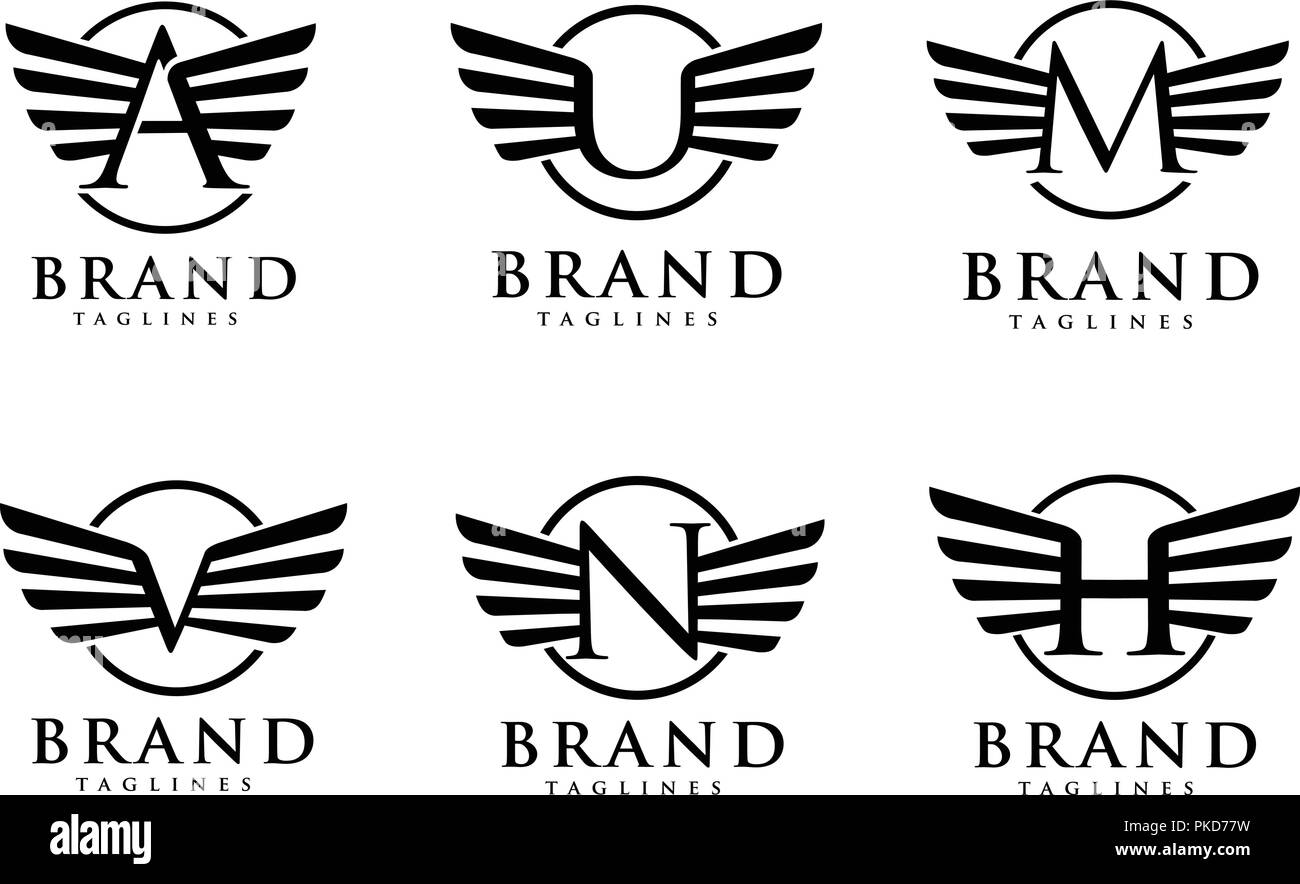 letters with wings and circle styles logo vector creative letter with wings design element letter wings corporate branding identity vector template