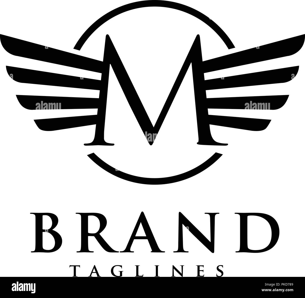 letters m with wings and circle logo vector creative letter m with