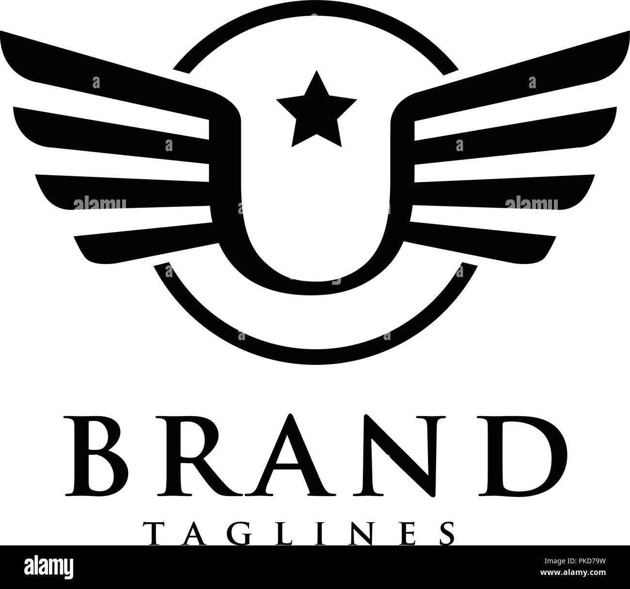 Letters U Star With Wings And Circle Logo Vector Creative Letter U
