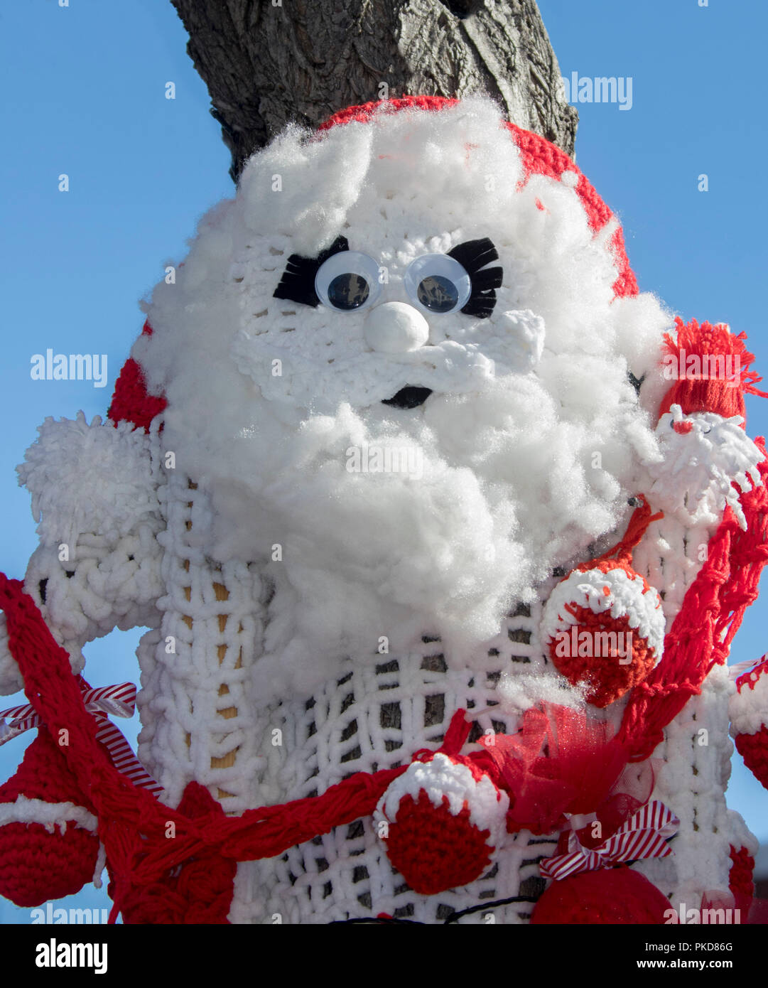 Knitted Craft Work Father Christmas Face On Display At Warwick Qld