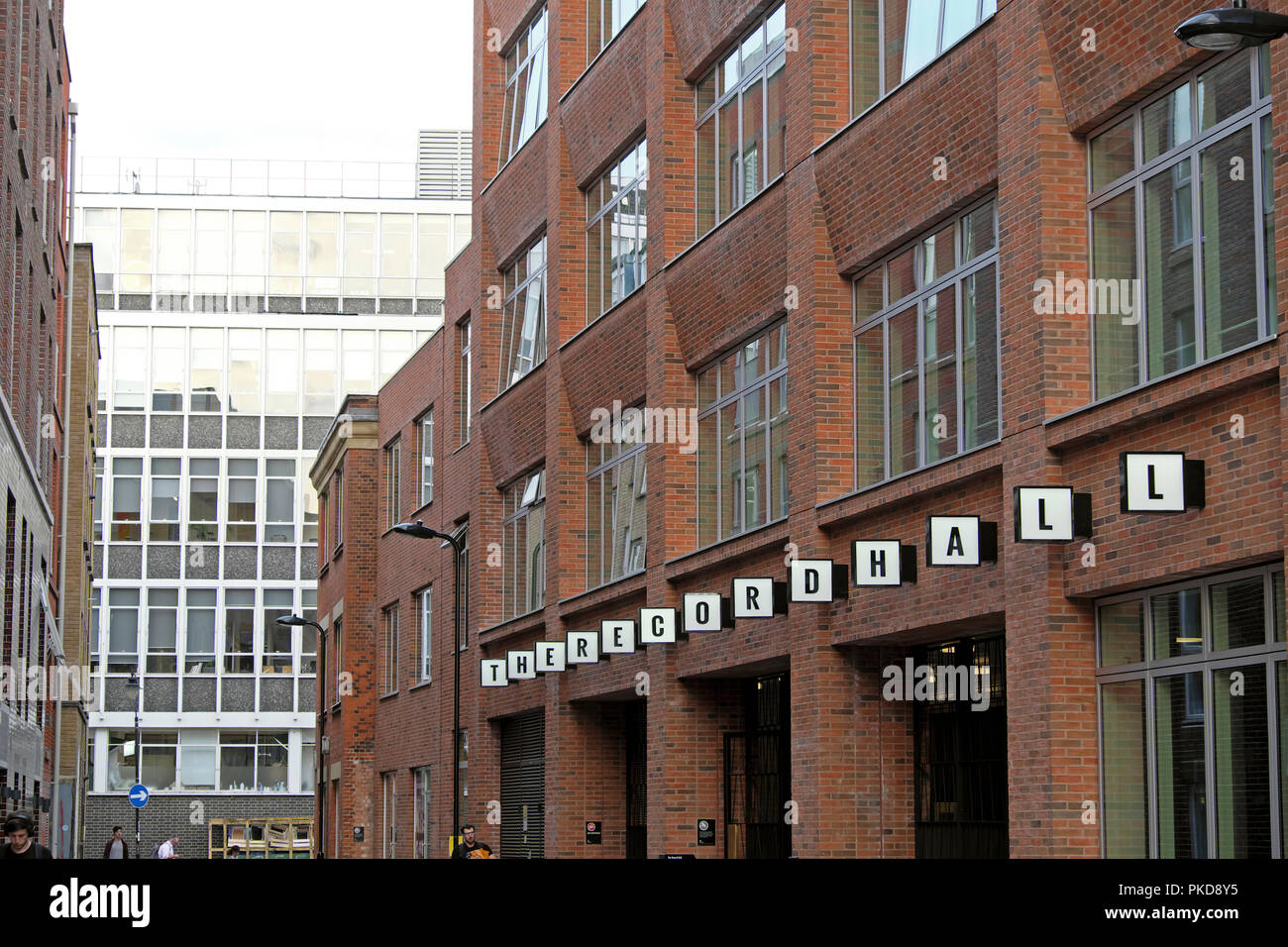 Workspace refurbished redeveloped B.R.E.E.A.M. sustainable building at The Record Hall exterior near Hatton Garden in London EC1 UK  KATHY DEWITT - Stock Image