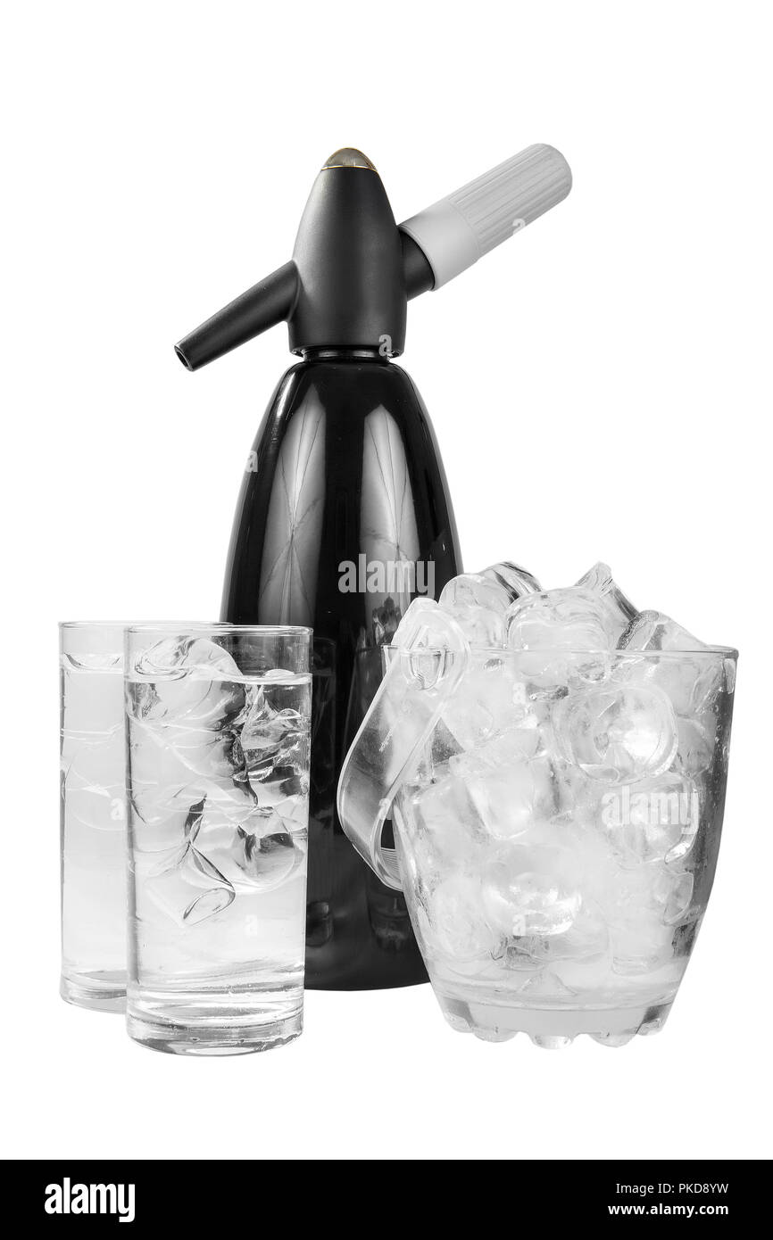 Black shiny metal table siphon for soda, next to a transparent bucket of ice and two glasses of mineral sparkling water, isolated white background, si - Stock Image