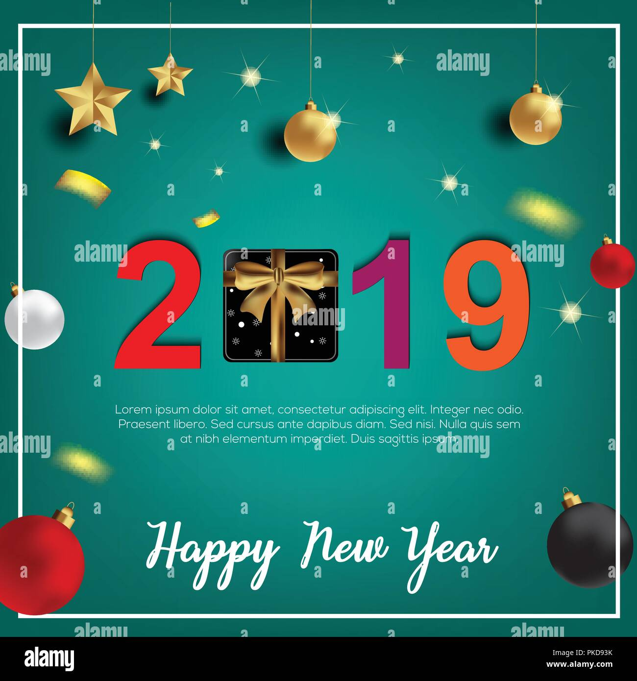2019 hand written lettering with golden christmas stars on a black2019 hand written lettering with golden christmas stars on a black background happy new year card design vector illustration eps 10 file