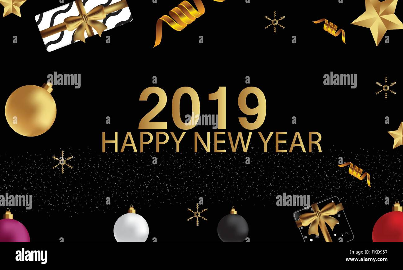 2019 hand written lettering with golden christmas stars on a black background happy new year card design vector illustration eps 10 file