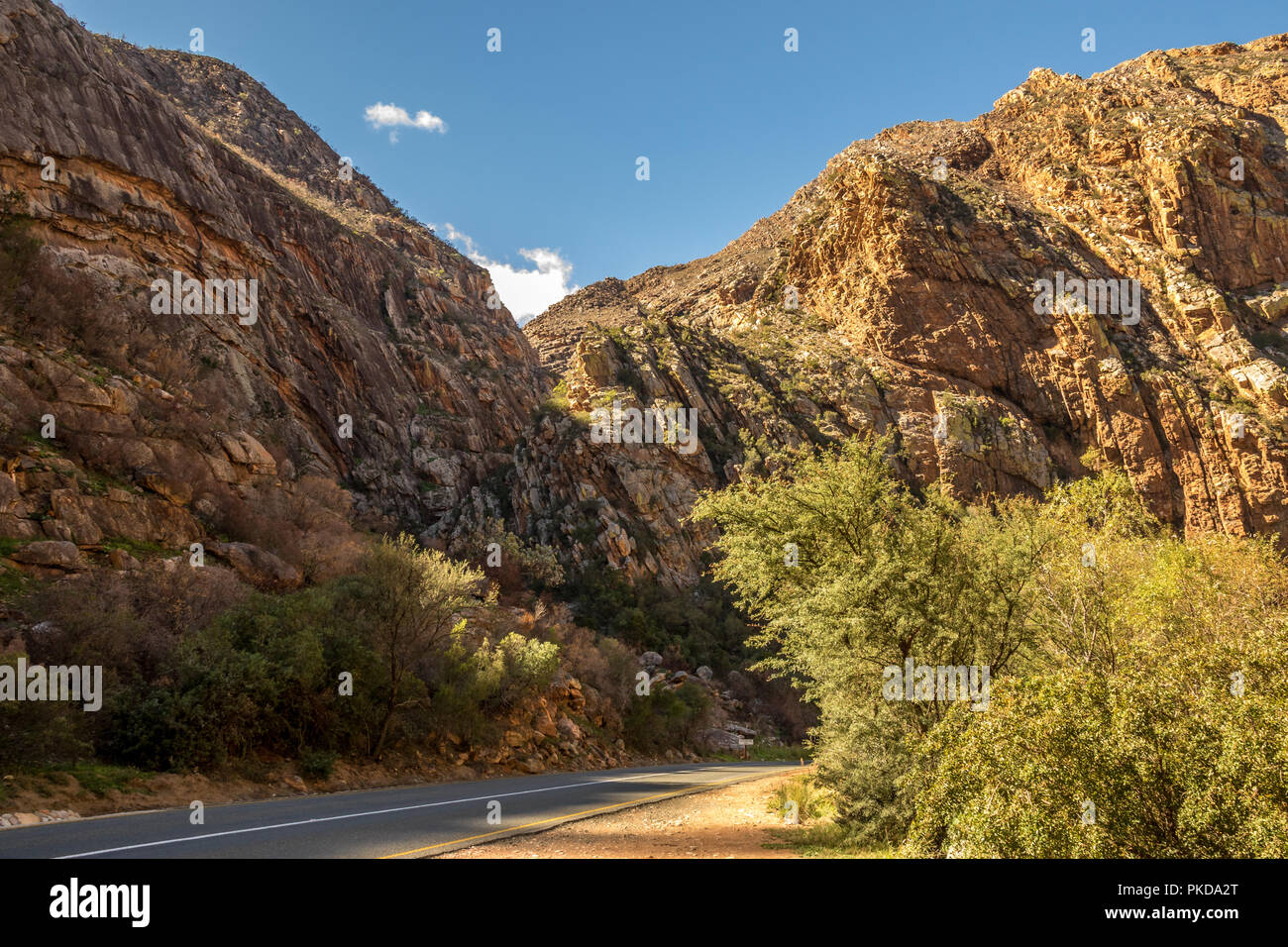 Meiringspoort Pass in the Swartberg mountain range in the klein Karoo region of South Africa image in landscape format - Stock Image