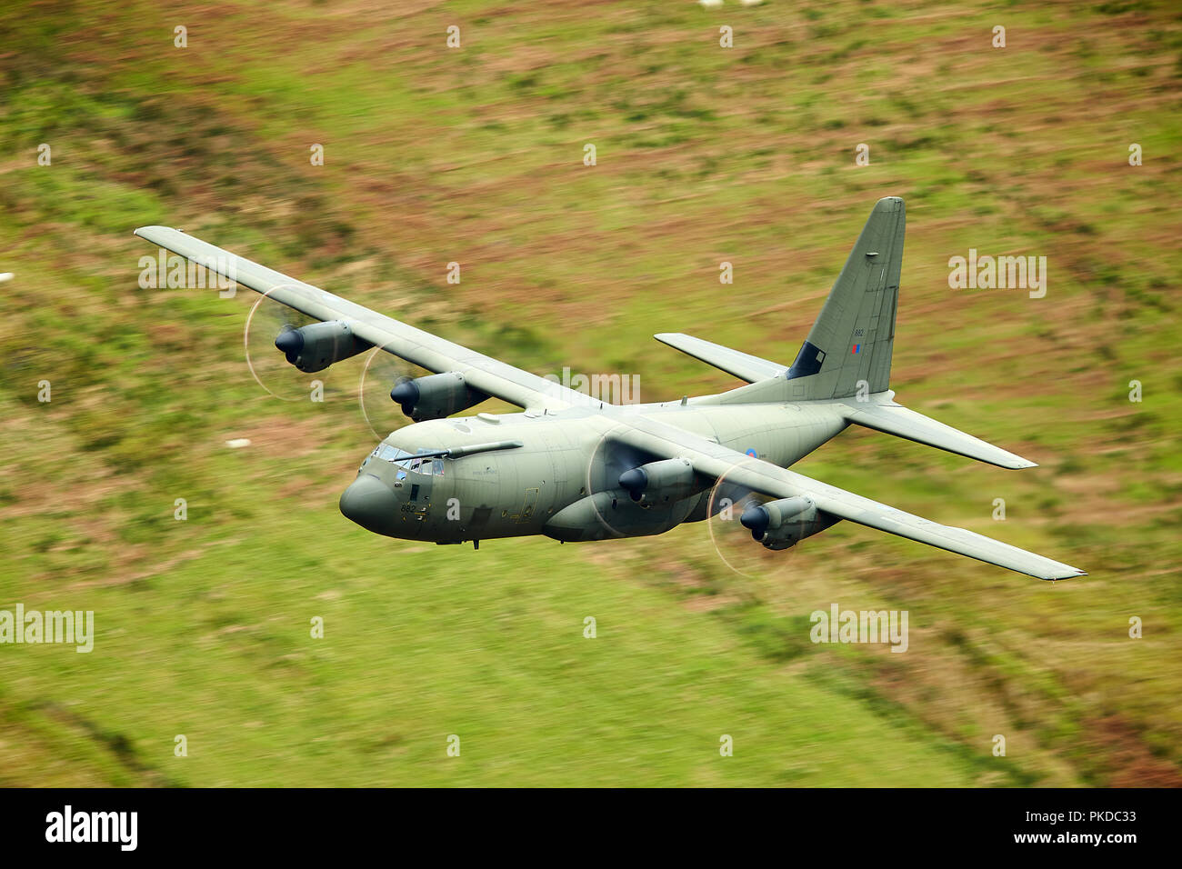 RAF Hercules C-130 in the Mach Loop, North Wales, UK Stock Photo